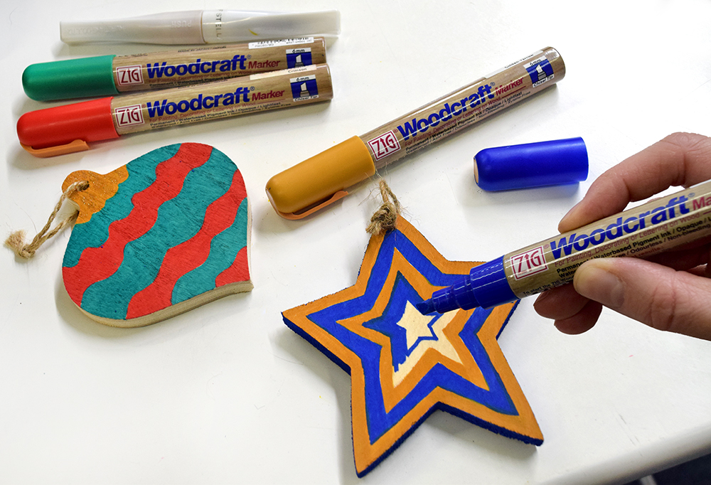Holiday decorating series part 3 zig blog for Markers for wood crafts